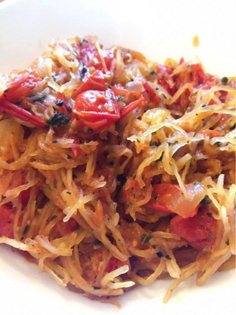 "My wife Kirin made THE best spaghetti squash recipe ever – uses all ingredients from the ""unlimited"" food list from the Adrenal Reset Diet."